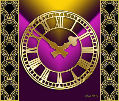 Digital Art - Clock With Border - Purple by Chuck Staley