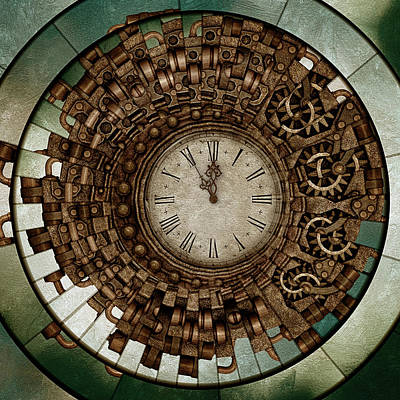 Mixed Media - Clock Works In Time Grunge Art by Georgiana Romanovna