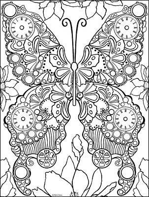 Drawing - Clockwork Butterly by Melodye Whitaker
