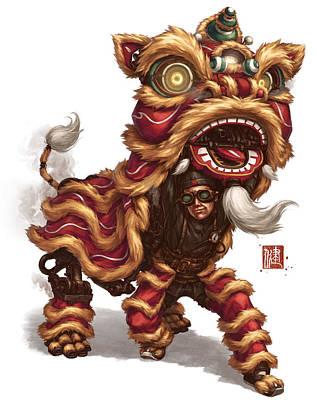 Science Fiction Mixed Media - Clockwork Liondancer by James Ng