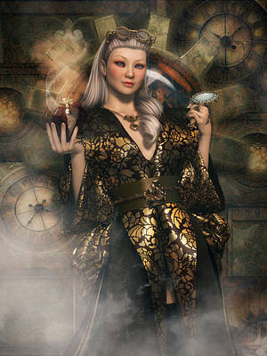 Digital Art - Clockwork Rose by Rachel Dudley