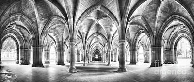 Stone Buildings Photograph - Cloister Black And White Panorama by Jane Rix