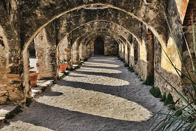 Cloister Photograph - Cloistered - Mission San Jose by Stephen Stookey