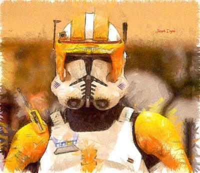 Desert Painting - Clone Trooper Commander  - Pencil Style -  - Da by Leonardo Digenio