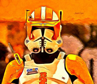 Darth Vader Digital Art - Clone Trooper Commander  - Van Gogh Style -  - Da by Leonardo Digenio