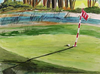 John M. Williams Drawing - Close At The Eleventh Hole by John Williams