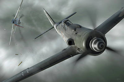 Fighter Aircraft Digital Art - Close Call by Robert Perry