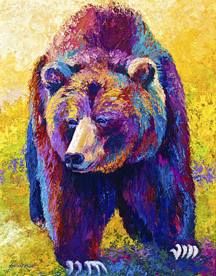 Grizzly Painting - Close Encounter - Grizzly Bear by Marion Rose