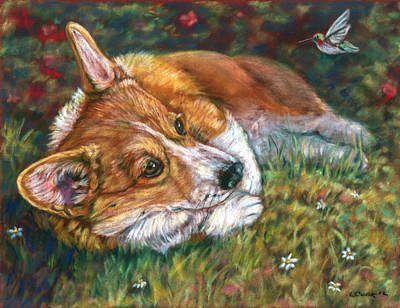 Pembroke Welsh Corgi Painting - Close Encounter - Pembroke Welsh Corgi by Lyn Cook