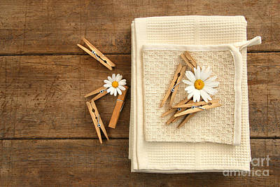 Close-pins And Dish Towels On Old Table  Art Print