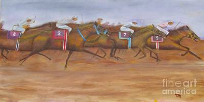 Horse Race Painting - Close To The Finish Line by Anthony Morretta
