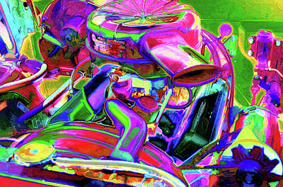 Close Up Detail Of Use Car Engine Art Print by Lanjee Chee