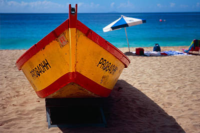 Close Up Frontal View Of A Colorful Boat On A Caribbean Beach Art Print by George Oze
