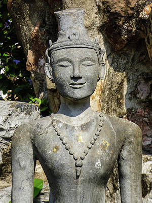 Photograph - Close Up Of A Statue Depicting A Thai Yoga Pose At Wat Pho Temple by Helissa Grundemann