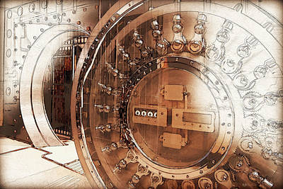 Digital Art - Close-up Of An Open Bank Vault Door And Lock by Serge Averbukh