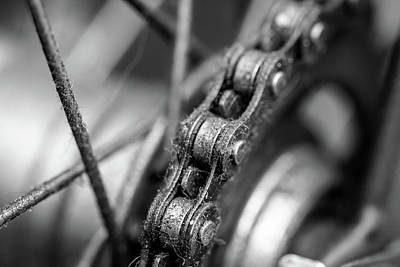 Photograph - Close Up Of Bicycle Chain Bw by Jacek Wojnarowski