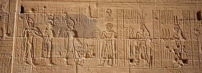 Archaeology Reliefs Photograph - Close-up Of Carvings On A Wall, Temple by Panoramic Images