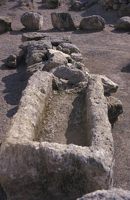 Stone Trough Photograph - Close Up Of Excavations In The Ancient by Richard Nowitz