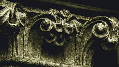 Photograph - Close Up Of Flowers In Capital Column by Jacek Wojnarowski