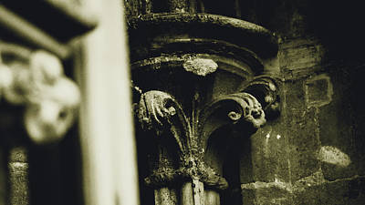 Photograph - Close Up Of Flowers In Victorian Capital Column by Jacek Wojnarowski