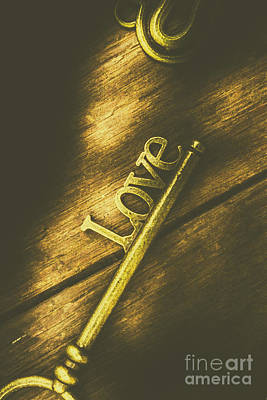 Photograph - Close-up Of Gold Metal Key With Love Word by Jorgo Photography - Wall Art Gallery