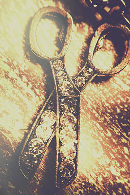 Close Up Of Jewellery Scissors Of Bronze Print by Jorgo Photography - Wall Art Gallery