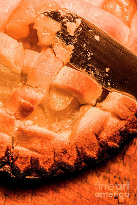 Pie Photograph - Close Up Of Knife Cutting Into Pie by Jorgo Photography - Wall Art Gallery