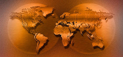 Shadow World Photograph - Close-up Of Map Of World by Panoramic Images