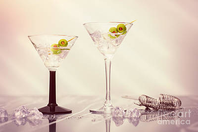 Glass Art Photograph - Close Up Of Martini Cocktails by Amanda Elwell