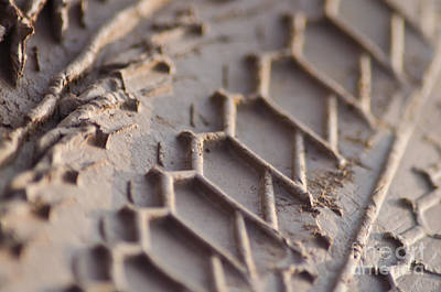 Close Up Of Motorcycle Tread Pattern On Muddy Trail Art Print