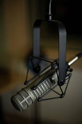 Close-up Of Recording Studio Microphone Art Print by Christopher Kontoes