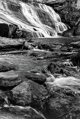 Photograph - Close Up Of Reedy Falls In South Carolina B W by Carol Montoya