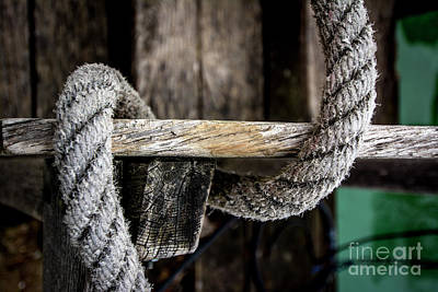Attaching Photograph - Close Up Of Ropes Attached To A Wooden Dock by Bernard Jaubert