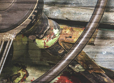 Photograph - Close Up Of Rusted Vintage Steering Wheel Fine Art by Jacek Wojnarowski