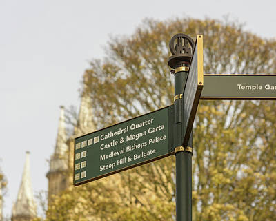 Photograph - Close Up Of Tourist Information Directing Sign In Lincoln Cathedral Quarter by Jacek Wojnarowski