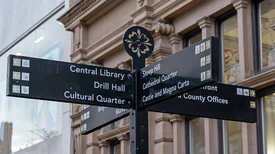 Photograph - Close Up Of Tourist Information Directing Sign In Lincoln by Jacek Wojnarowski