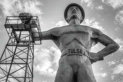 Photograph - Close Up Of Tulsa Driller Statue - Black And White by Gregory Ballos