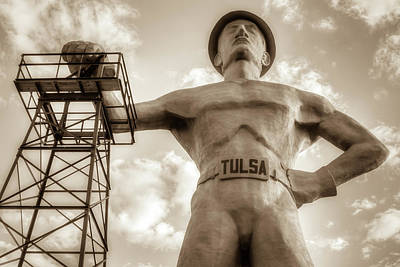 Photograph - Close Up Of Tulsa Driller Statue - Sepia by Gregory Ballos