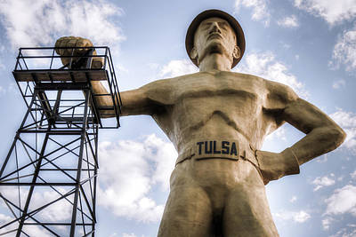 Photograph - Close Up Of Tulsa Driller Statue - Vintage Color by Gregory Ballos