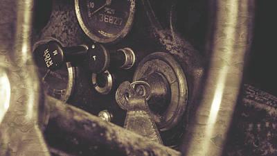 Photograph - Close Up Of Vintage Car Ignition Switch Fine Art by Jacek Wojnarowski