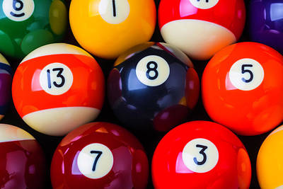 Eleven Photograph - Close Up Poolballs by Garry Gay