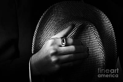 Gemstone Photograph - Close-up Shot Of A Male Ring Hand Holding Hat by Jorgo Photography - Wall Art Gallery