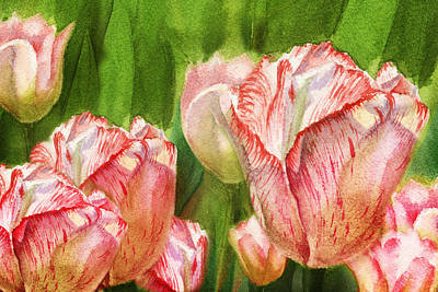 Tulips Watercolor Wall Art - Painting - Close Up Tulips by Irina Sztukowski