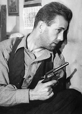 Close-up Up F Humphrey Bogart As Duke Mantee With Gun The Petrified Forest 1936 Art Print by David Lee Guss