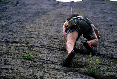 Bellefonte Wall Art - Photograph - Close View Of A Rock Climber Starting by Stacy Gold