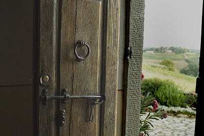 Close View Of A Wooden Door On A Villa Art Print by Todd Gipstein