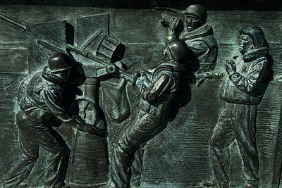 Close View Of Bronze Relief Sculpture Print by Todd Gipstein