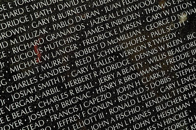 Vietnam Veterans Memorial Wall Photograph - Close View Of Names Carved by Todd Gipstein
