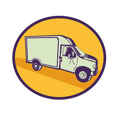 Closed Delivery Van Woodcut Art Print