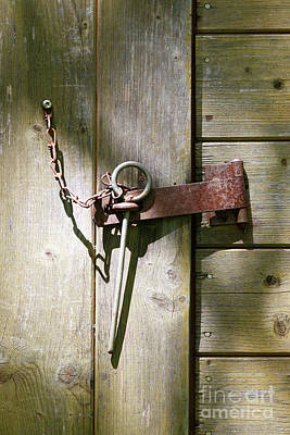 Forelock Photograph - Closed Door - Safety Pin by Michal Boubin